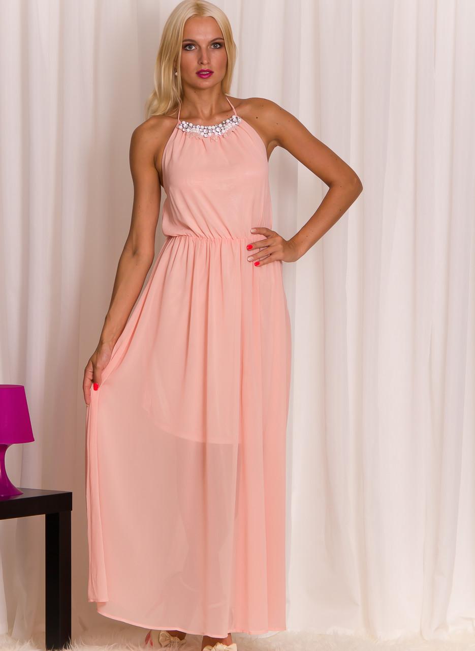 cbf954e4d0 Dlouhé šaty s perlovým zdobením lososové - Glamorous by Glam ...