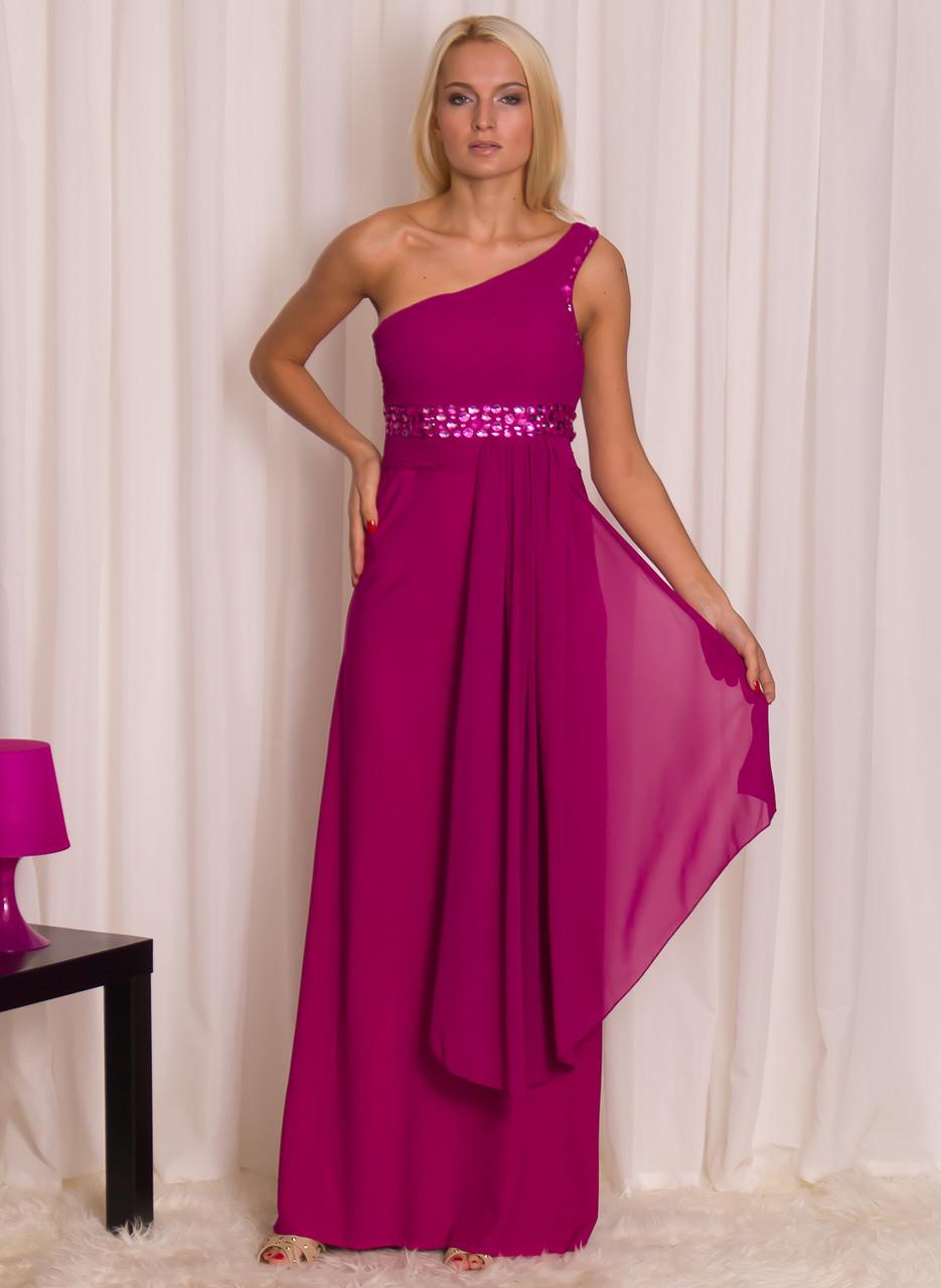 28ede84aacf9 Společenské dlouhé šaty se šálem - fuchsiová - - Dlouhé šaty ...