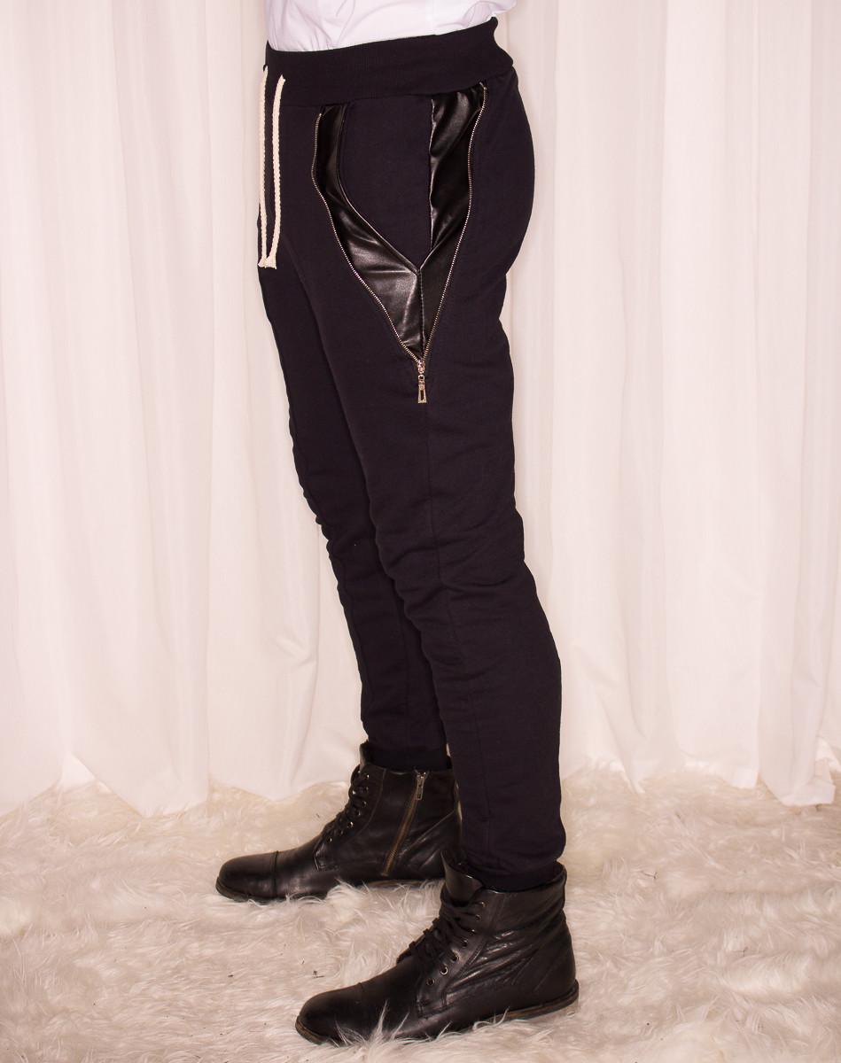 4f32014ffcad Pánské tepláky s koženkou a zipy černé - Glamorous by Glam - Jeany ...