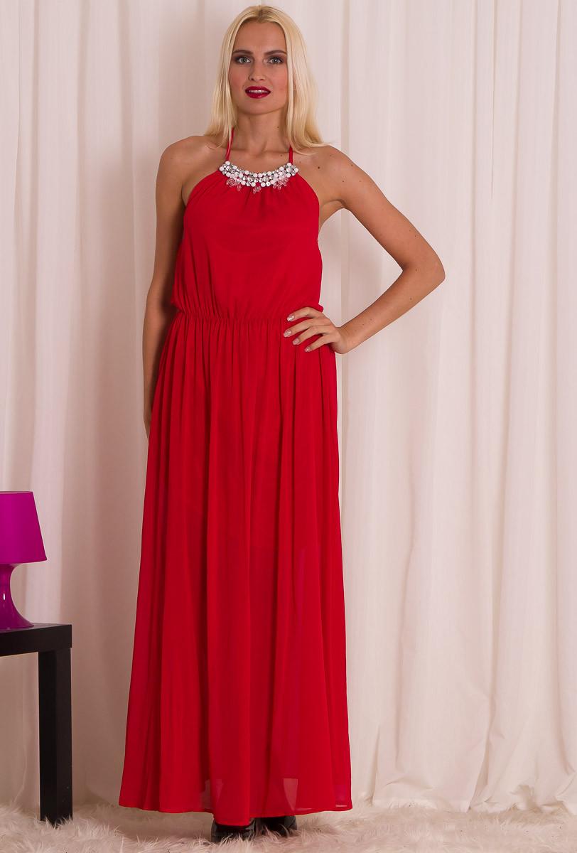 f7a304de60cb Glamadise.sk - Dámske dlhé letné šaty s kamienkom - červená ...