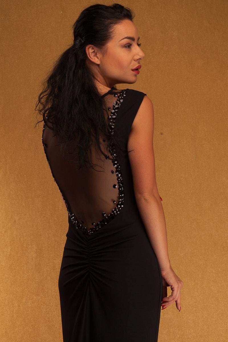 14093bbddcdc Glamadise.sk - Spoločenské dlhé šaty s riasením a zdobením - čierne ...