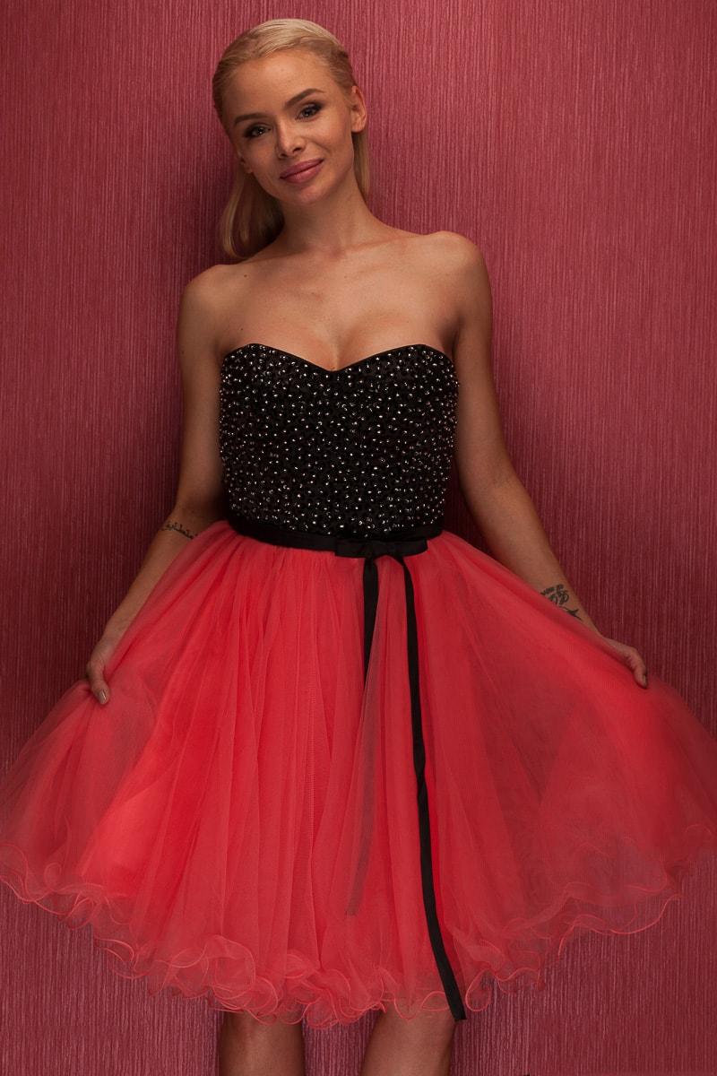 dcaa6a255d83 Glamadise.sk - Dámske krátke plesové šaty bez ramienok - tehlová ...