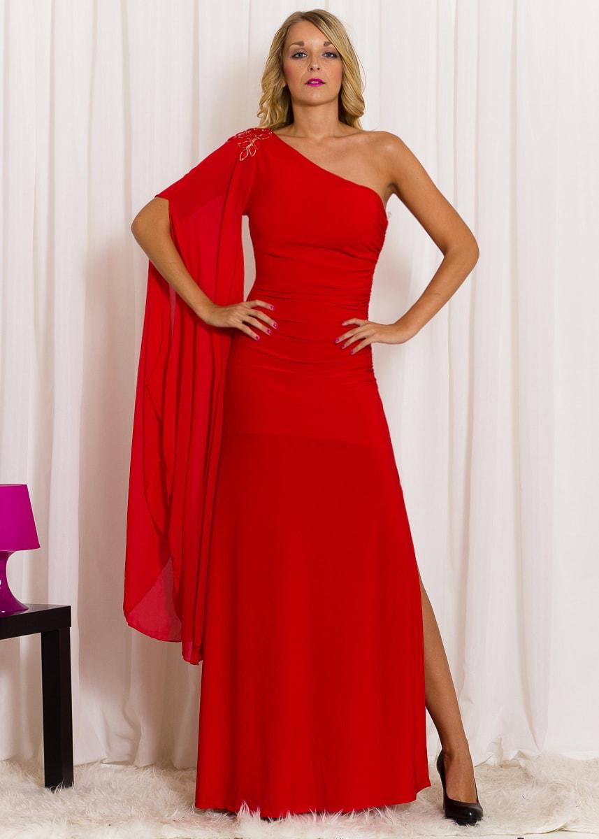 3812b21a5586 Glamadise.sk - Spoločenské dlhé šaty na jedno rameno s rukávom ...