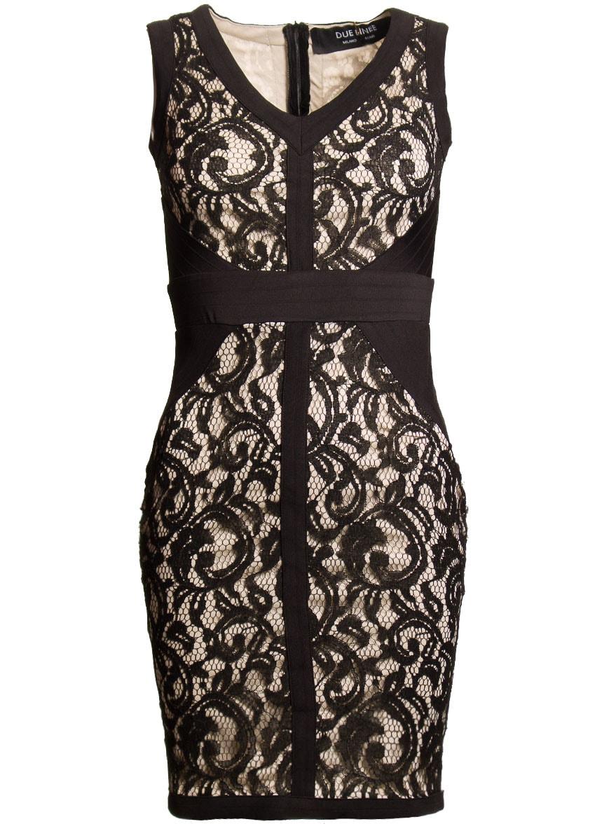 ec601962daaf Glamadise.sk - Dámske šaty s čipkou čierno - béžová - Due Linee ...