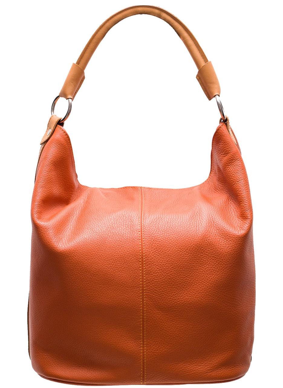 08136657d9 Glamadise.sk - Dámska kožená kabelka cez plece oranžovo - béžová ...