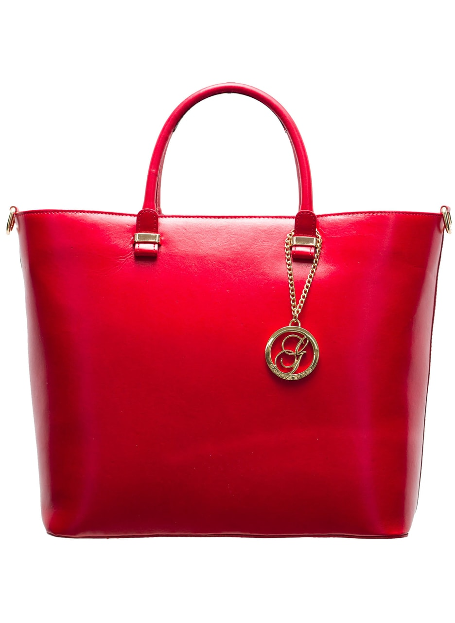 97af4e6dcf Glamadise.sk - Elegantná kožená kabelka z leštenej kože - červená ...