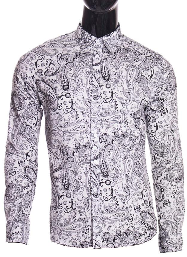 e77abd1ea085 Glamadise.sk - Pánska košeľa vzorovaná čiernobiela - Pánské košele ...