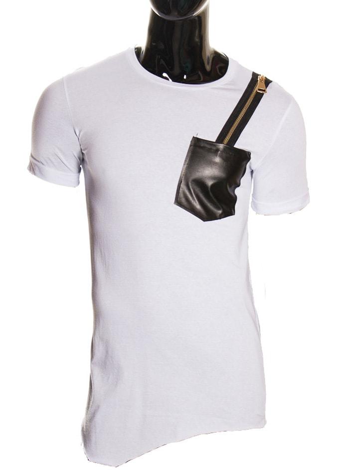 592892637155 Pánské bílé tričko se zipem - Glamorous by Glam - Pánské trička ...