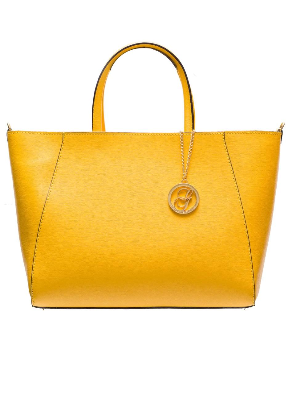 ed0dd13d4e Glamadise.sk - Kožená kabelka zo safiánové kože jednoduchá - žltá ...