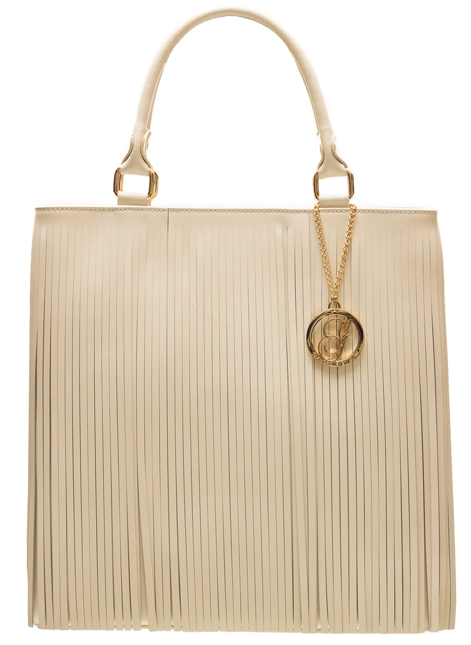 cbd46eb9a0 Glamadise.sk - Dámska kožená kabelka so strapcami - béžová ...