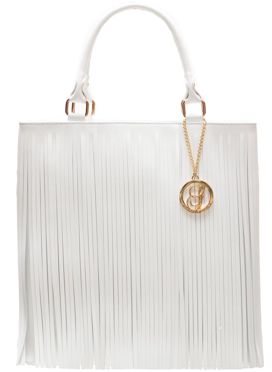 6f51d74aa7 Glamadise.sk - Dámska kožená kabelka so strapcami - biela ...