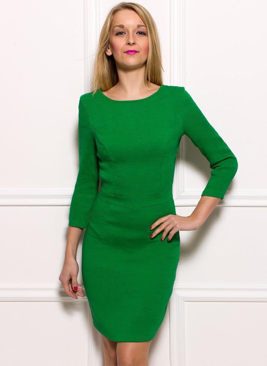 ac00990762a8 Glamadise.sk - Dámske jednoduché šaty s dlhým rukávom - zelená ...