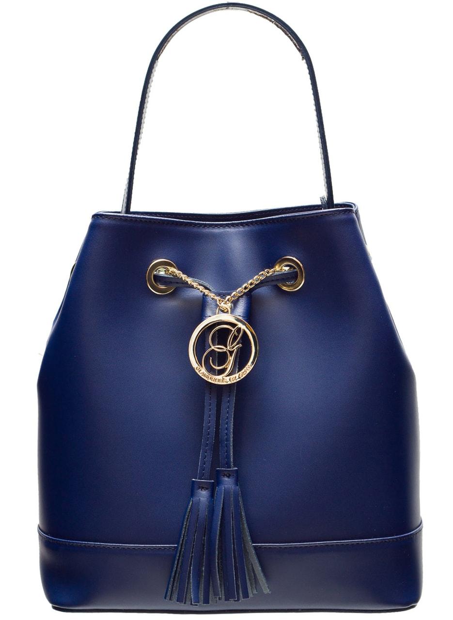 d27c702ad8 Dámská kožená kabelka vak - tmavě modrá - Glamorous by GLAM - Kožené ...