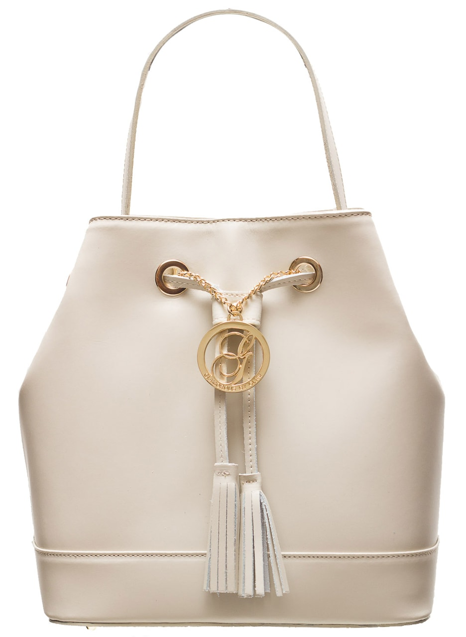 a39252ca29 Dámská kožená kabelka vak - béžová - Glamorous by GLAM - Kožené ...