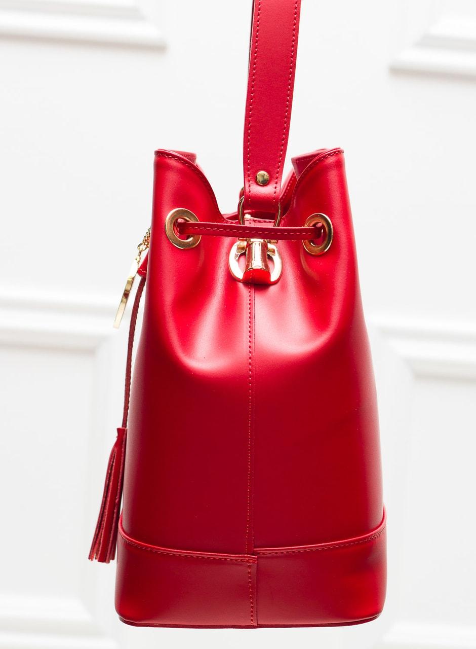4ae64f72e5 Dámská kožená kabelka vak - červená - Glamorous by GLAM - Kožené ...