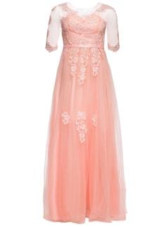 c3d5ccba2 Glamadise.sk - Spoločenské luxusné dlhé šaty s rukávom - champagne ...