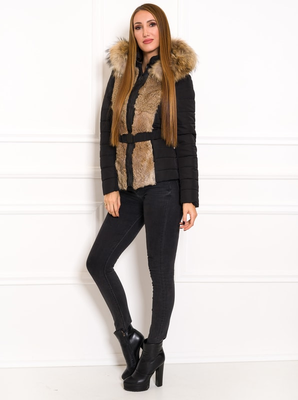 Women's winter jacket with real fox fur Due Linee - Black