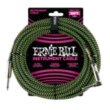 6077 Ernie Ball 10' Braided Straight / Angle Instrument Cable - Black / Green