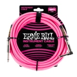 6083 Ernie Ball 18' Braided Straight / Angle Instrument Cable - Neon Pink