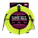 6085 Ernie Ball 18' Braided Straight / Angle Instrument Cable Neon - Yellow