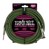 6082 Ernie Ball 18' Braided Straight / Angle Instrument Cable - Black / Green