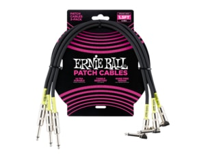 6076 Ernie Ball 1.5FT/0.46M PATCH CABLE - STRGHT/ANGLE 3KS - ČERNÝ