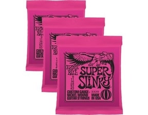 3223 Ernie Ball Nickel Super Slinky Pink Electric Guitar Strings 3 Pack