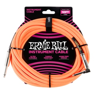 6079 Ernie Ball 10' Braided Straight / Angle Instrument Cable - Neon Orange