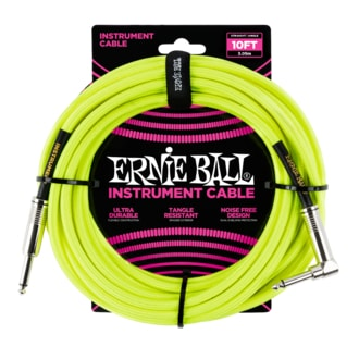 6080 Ernie Ball 10' Braided Straight / Angle Instrument Cable Neon - Yellow