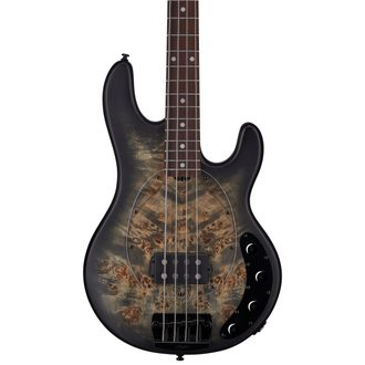 Sterling by MusicMan StingRay, Burl Top, Trans Black Satin