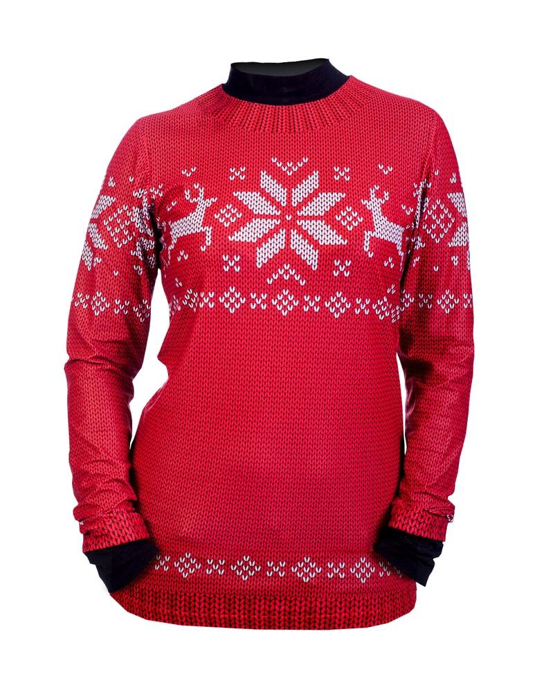 Levně Termo triko s motivem norský svetr - L - červené