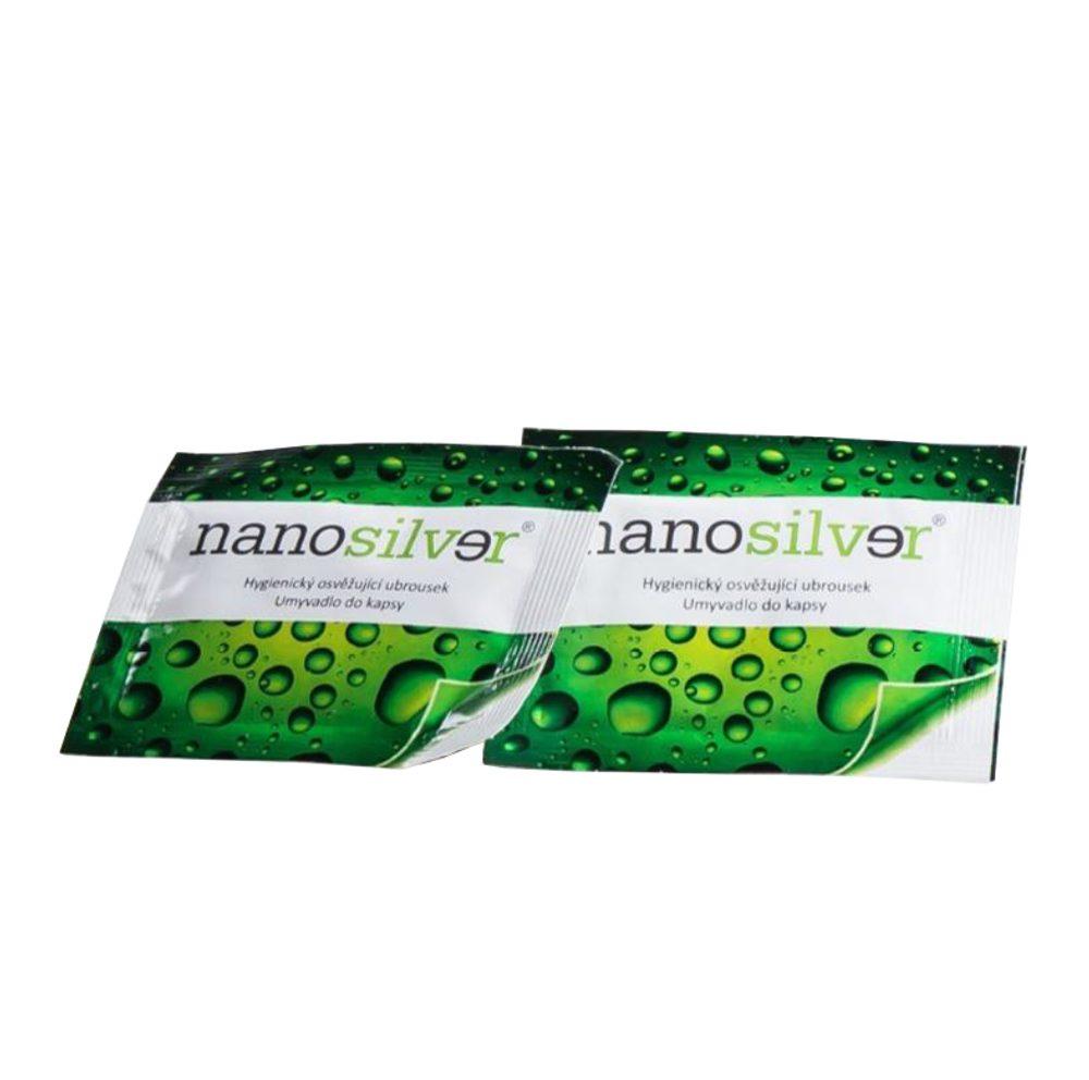 nanosilver Antibakteriální desinfekční ubrousky na ruce - dezinfekce do kapsy i kabelky, 10 ks