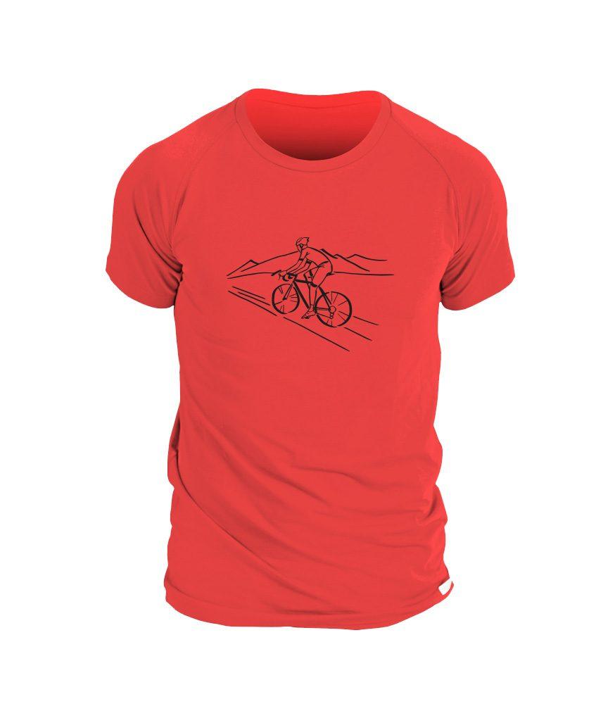Levně Pánské triko potisk BIKER - L - červená