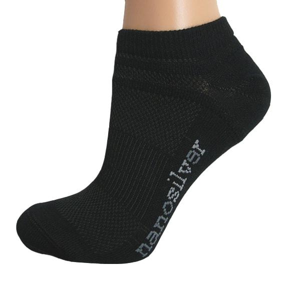 nanosilver Kotníkové tenké ponožky nanosilver - L 43/46 - černé