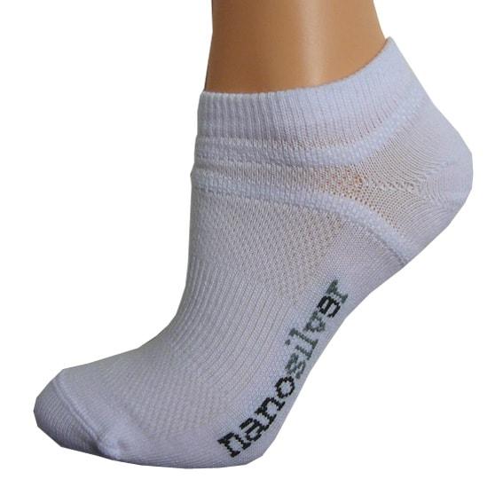 nanosilver Kotníkové tenké ponožky nanosilver - L 43/46 - bílé
