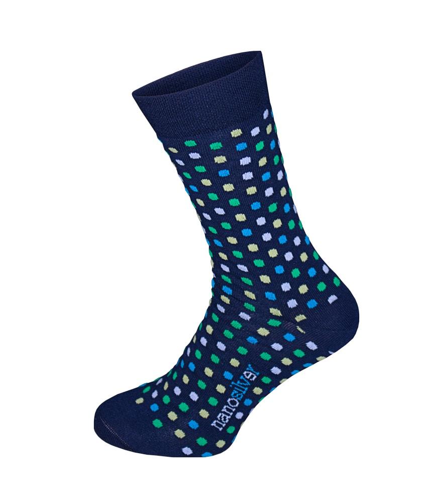 Společenské ponožky s puntíky - S 35/38 - modré s barevnými puntíky