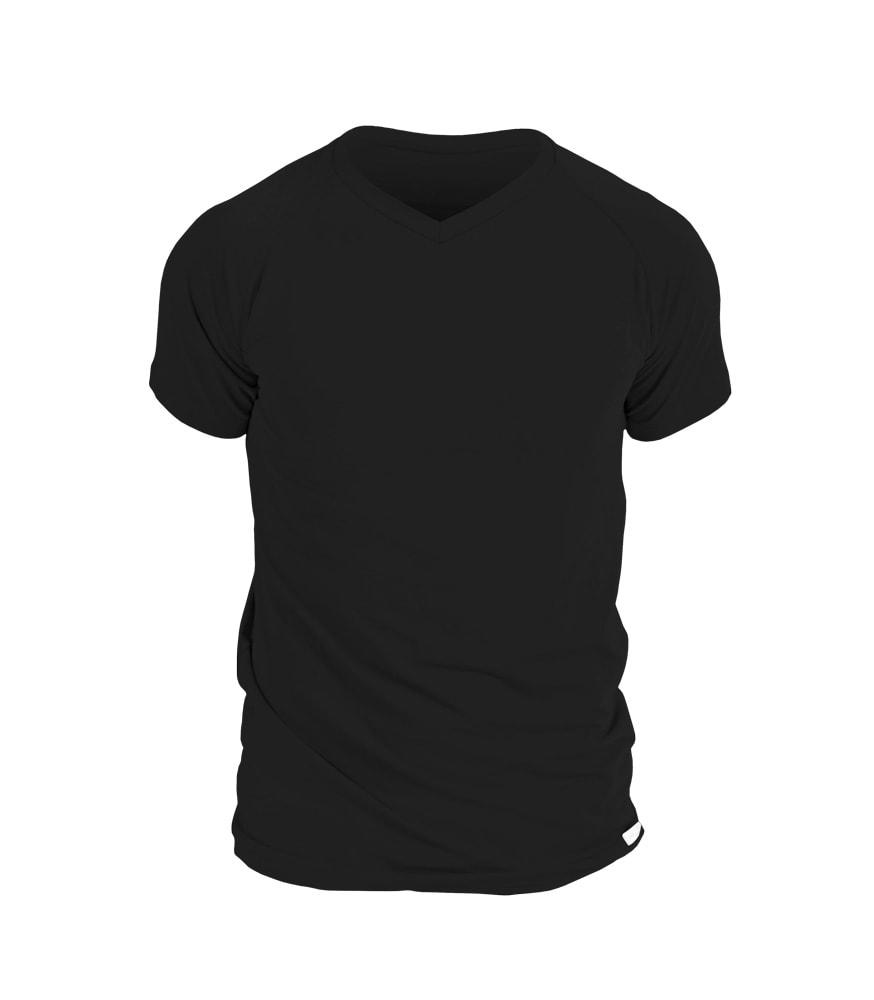 Levně Pánské triko nanosilver, s výstřihem do V - M - černé