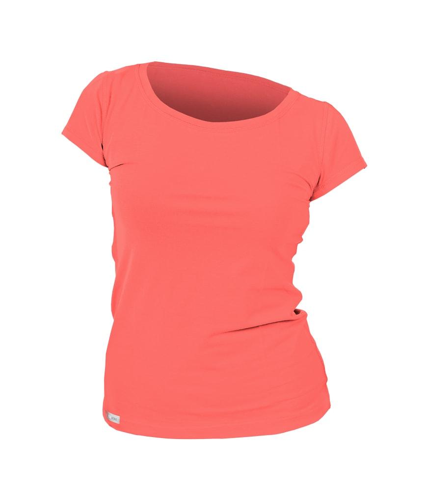 Levně Dámské triko krátký rukáv - XL - korálová