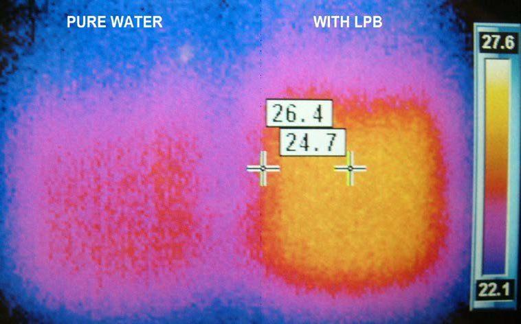 test teploty vody s tekutou plachtou
