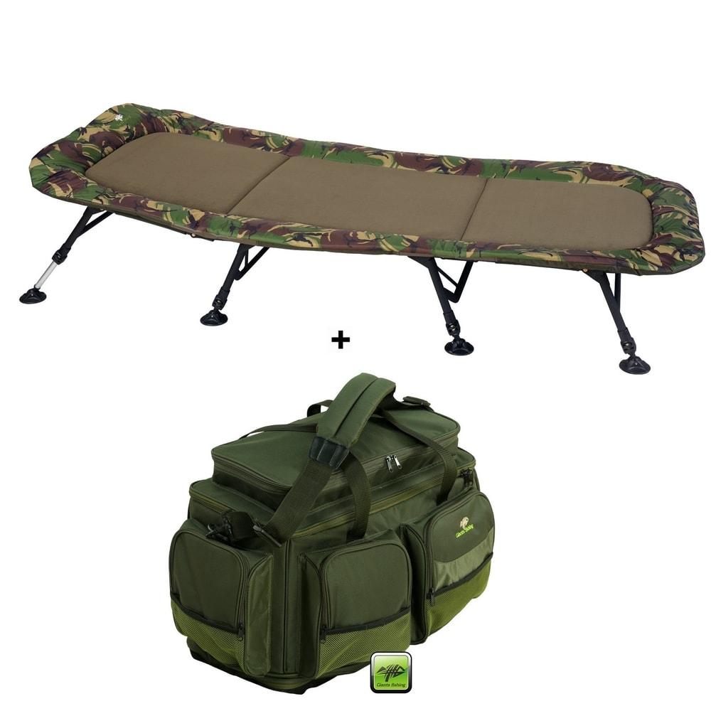 Giants Fishing Lehátko Flat Fleece Camo XXL 8Leg + Cestovní taška Deluxe XL AKČNÍ SET!