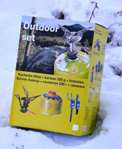 Meva Outdoor Set vařič Hiker, křesadlo, kartuš