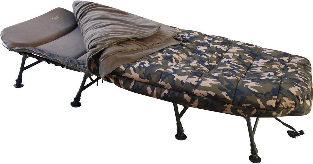 MK Angelsport Lehátko se spacákem 8 Bein Bedchair Camo Sleeping System