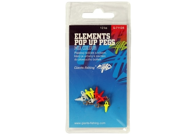 Giants Fishing Kolíček s očkem Elements Pop Up Pegs Mix Colour 12ks
