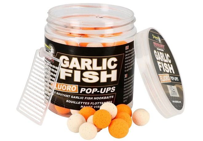 Starbaits Plovoucí boilies Fluo Garlic Fish 80g