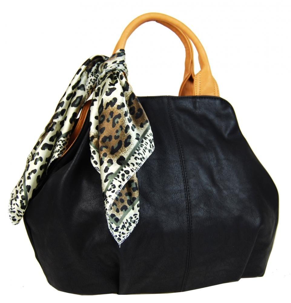 537afea466 Módní černá dámská kabelka s šátkem AAJ-20 ...