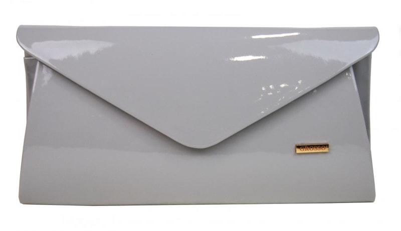 98e6e2f94b Luxusní světle šedá lakovaná listová kabelka   psaníčko SP126 ...