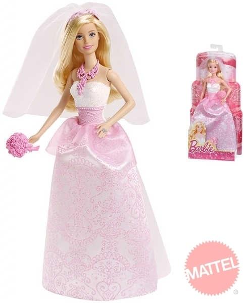 74ec75c6a352 BARBIE BRB Panenka nevěsta s kyticí v růžovo bílých šatech