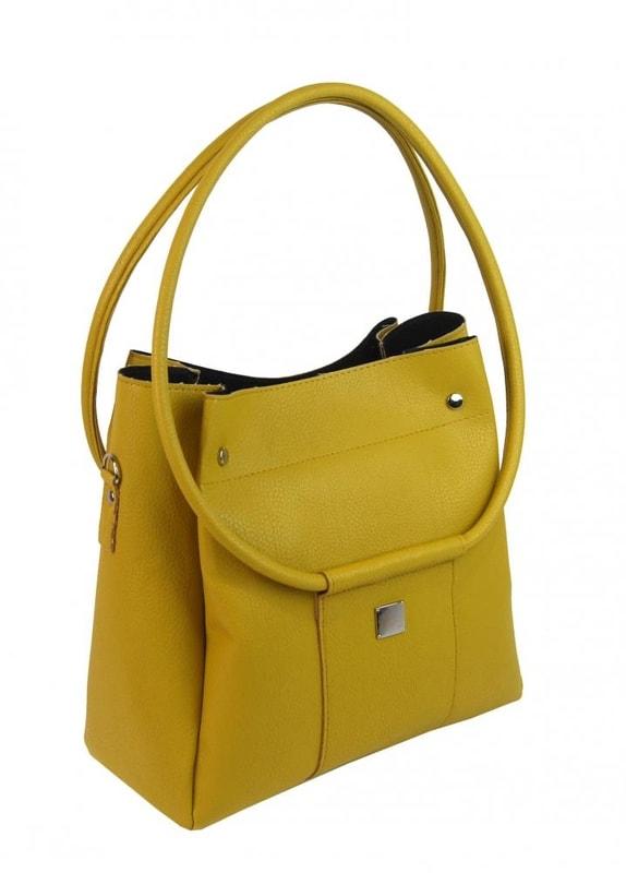 2624b4d261 Moderní velká hořčicově žlutá dámská kabelka S649. Zvětšit. Předchozí  Další