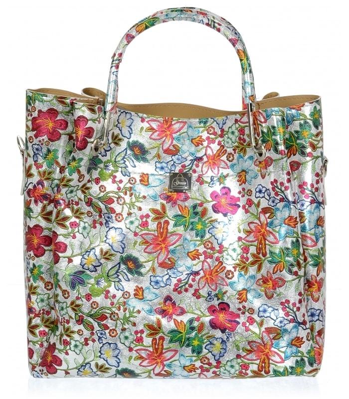 5648f7f22c Barevná moderní dámská kabelka s motivem květin S728