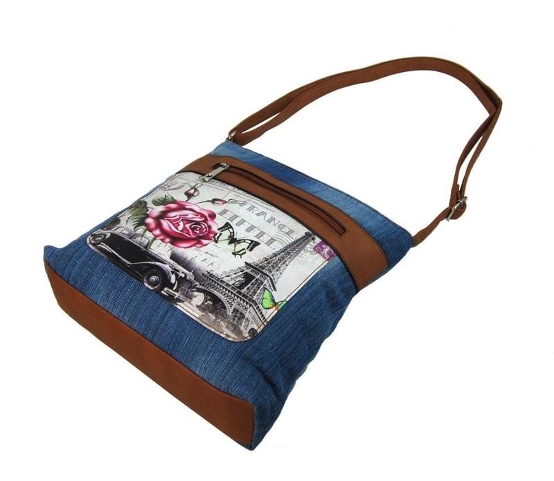 00dc2e1f49 Riflová modrá dámská crossbody kabelka s hnědými doplňky H1725 ...